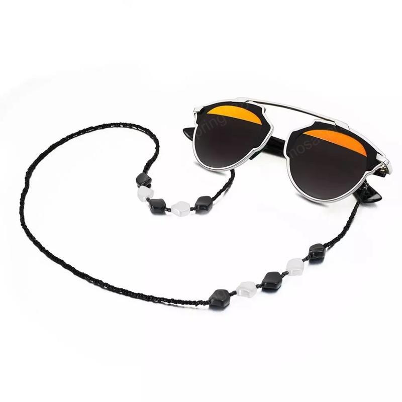 Cadena de gafas con cuentas de acrílico blanco y negro clásico con titular antideslizante de silicona universal Eyewear adjuntar correa deportes diarios