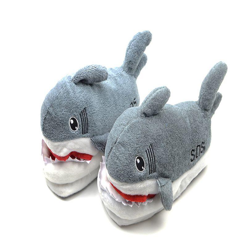 Karikatür köpekbalığı komik terlik ayakkabı kızlar güzel kapalı terlik yumuşak ev ayakkabıları peluş kış sıcak terlik çift için kaymaz 201125