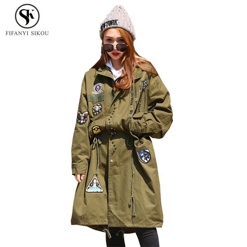 Casaco de Trench de Outono 2020 para Mulheres Moda Impressão Rebite Street Estilo Long Windbreaker Feminino Loose Plus Size Overcoat Tide LP196