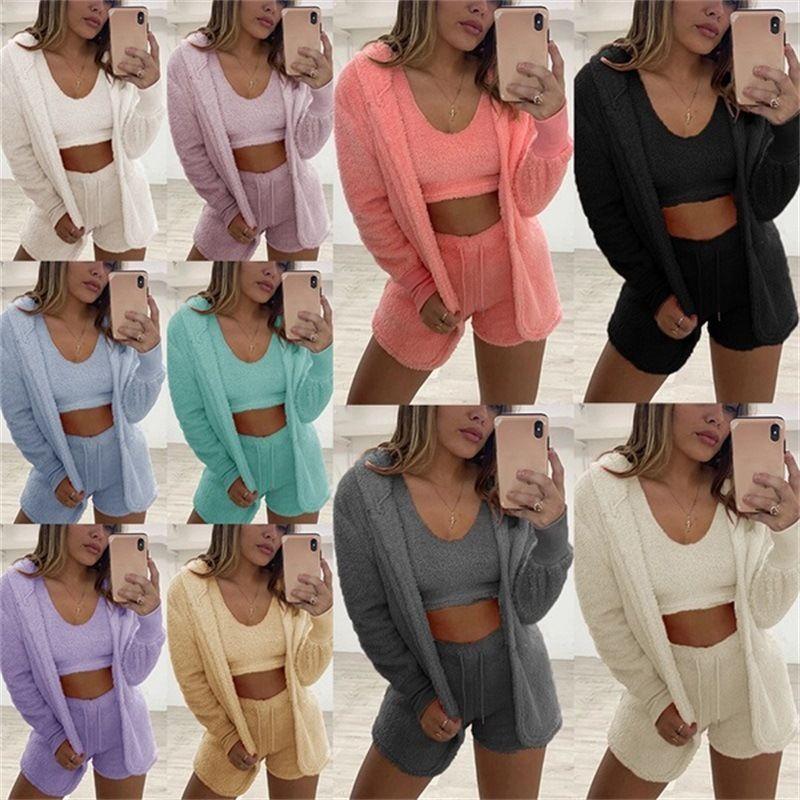 Plush Tracksuit Women 3 Pieces Set Sweatshirts Sweatpants Sweatsuit Jacket Crop Top Shorts Suit Sports Suit Jogging Femme 2020 new