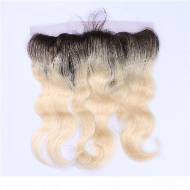 """Fermeture frontale de la dentelle de la dentelle du corps blonde 13x4 avec des cheveux bébé # 1B 613 blonde ombre brésilienne cheveux humains oreille à l'oreille 8-24 """""""