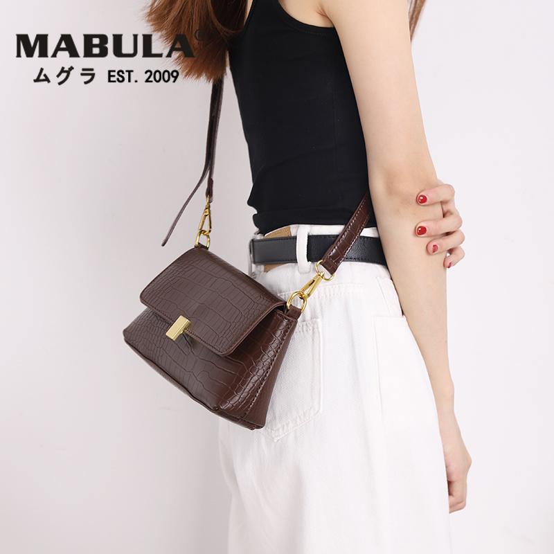 MABULA 2020 Bolsas de Crossbody para Mujeres Cocodrilo Patrón Messenger Bag Bolsos de embrague de cuero Bolsos Bolsos de mujer Bolsa de hombro CALIENTE