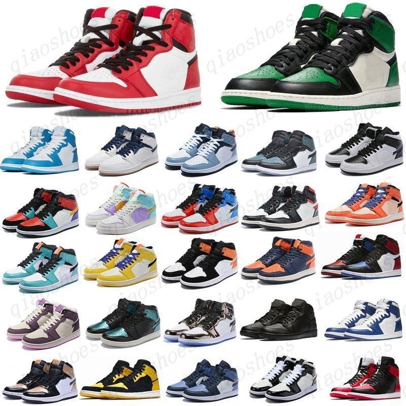 2021 Çam Yeşil Siyah 1 S Basketbol Ayakkabı Jumpman 1 Bloodline Erkekler Sneakers Korkusuz Obsidiyen UNC Patent Altın Siyah Toe Top Trainers