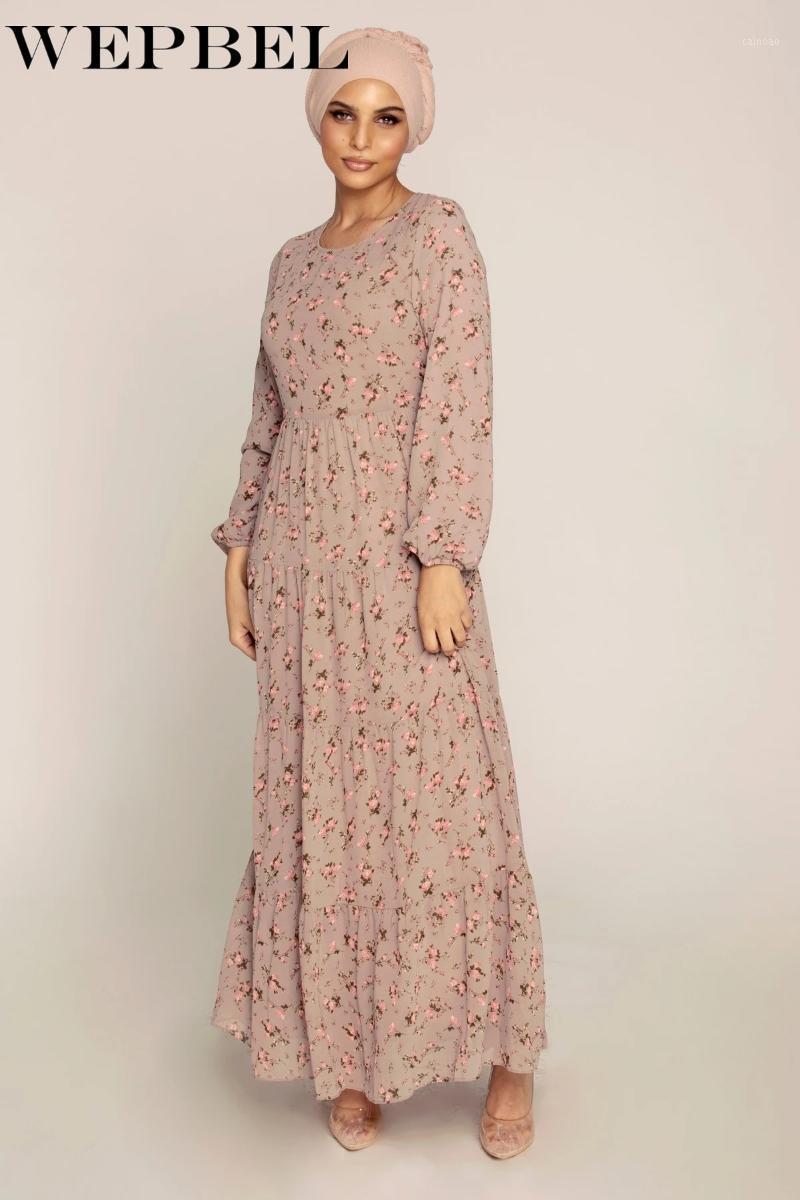 Wepbel Женская повседневная печатная цветочная шифоновая платье мусульмана с длинным рукавом O-образным вырезом Свободный халат Дубай Араб1