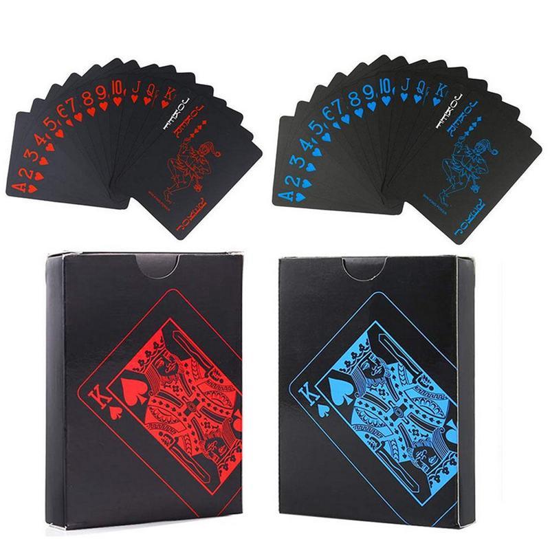 Siyah Texas Holdem Klasik Reklam Poker Su Geçirmez PVC Öğütme Dayanıklı Kurulu Rol Oynama Oyunları Magic Card 10 Set