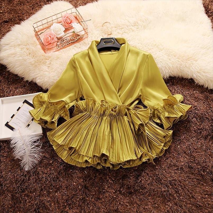 Amolapha Femmes estivale Soilde Deep De Deep Col à lacets à volants Butterfly Manches Satin Blouses Satin Shirts Drop Shipping Expédition