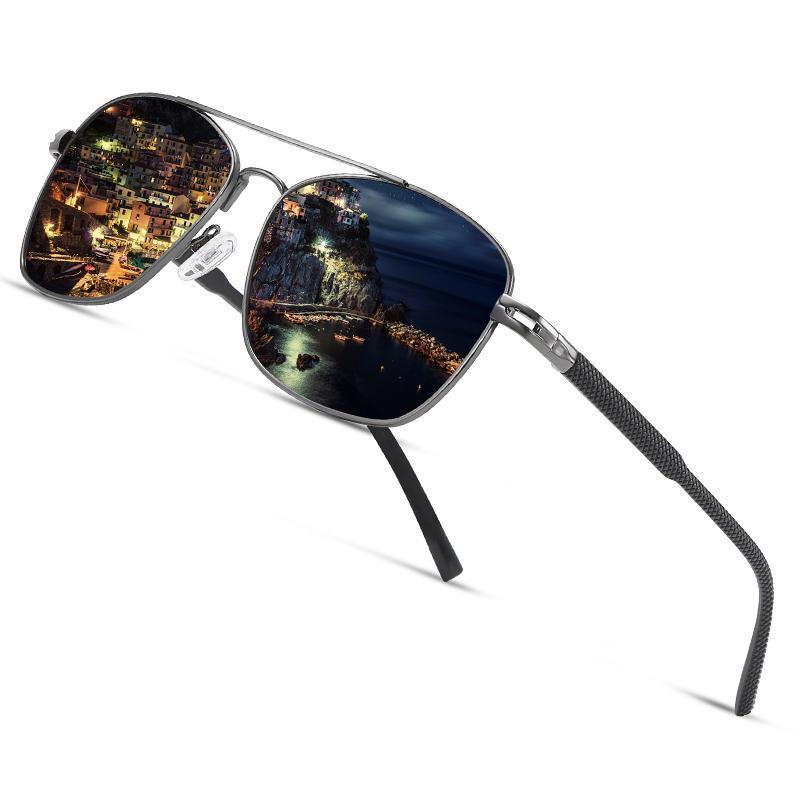 AOFLY Vintage Polarized Sunglasses Men Brand Design Square Metal Frame Anti Glare Male Sun Glasses For Driving UV400 AF8341