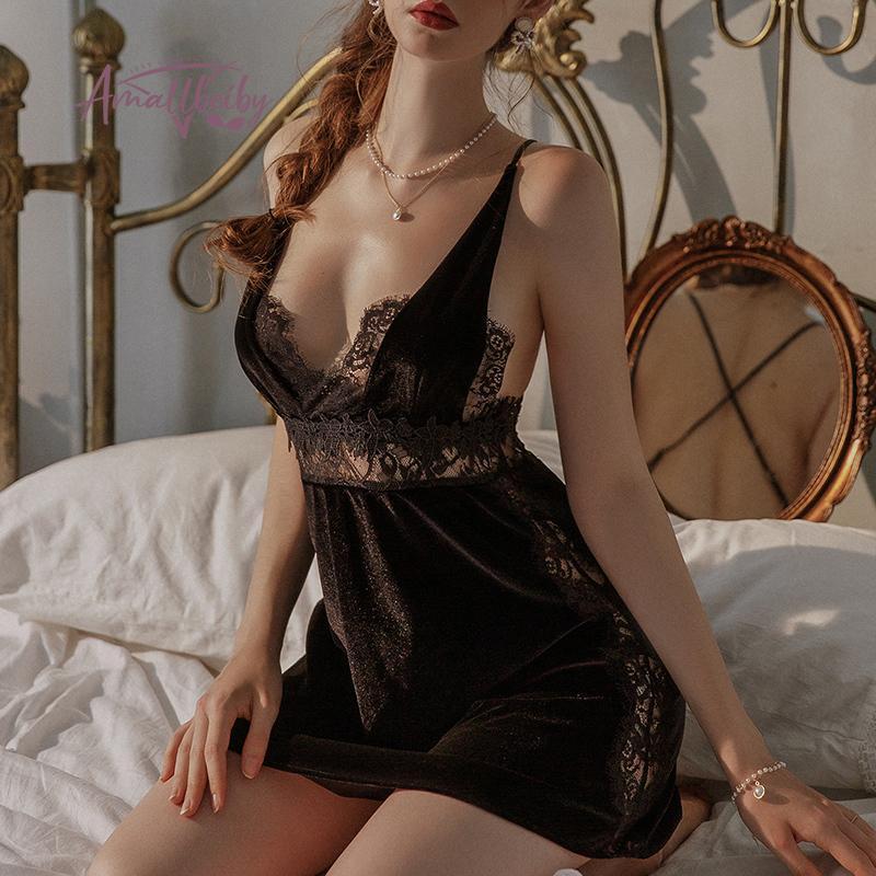 Бархат Backless Nightdress Nightdress Кружева Искусство Питание Романтические ночи для женщин Ночная одежда Суд Стиль Nightgown Сексуальное женское белье