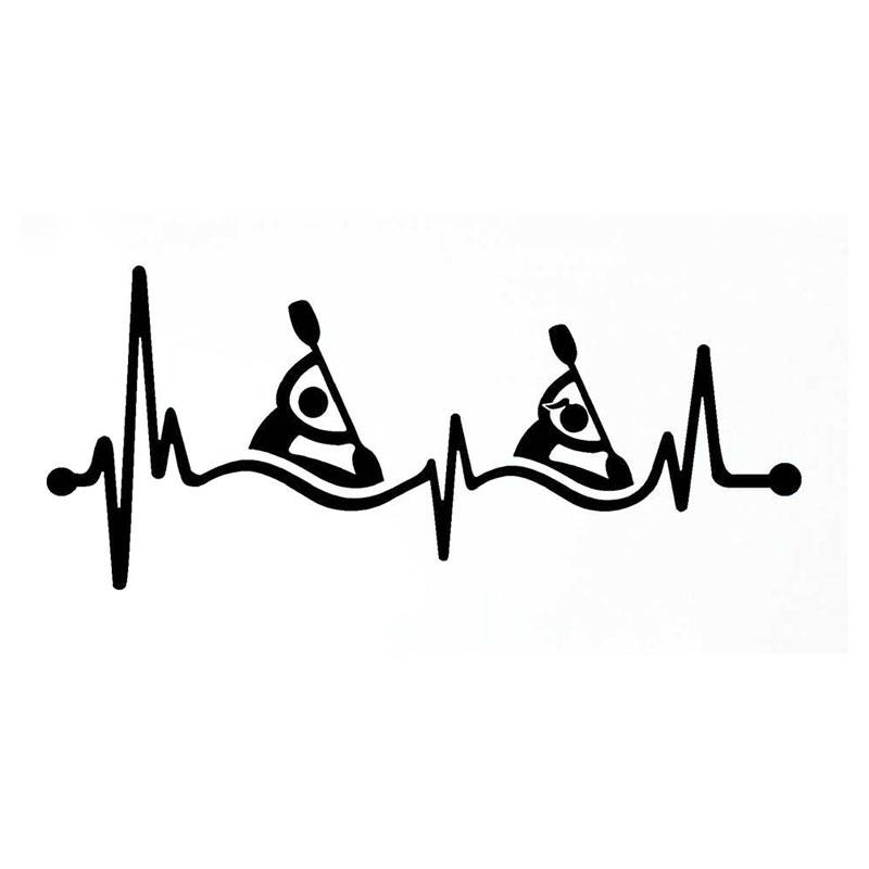 14cm * 6cm Guy Girl Girl Kayak Heartbeat Rettungsleine Vinyl Schwarz / Silber Auto Aufkleber C22-1070