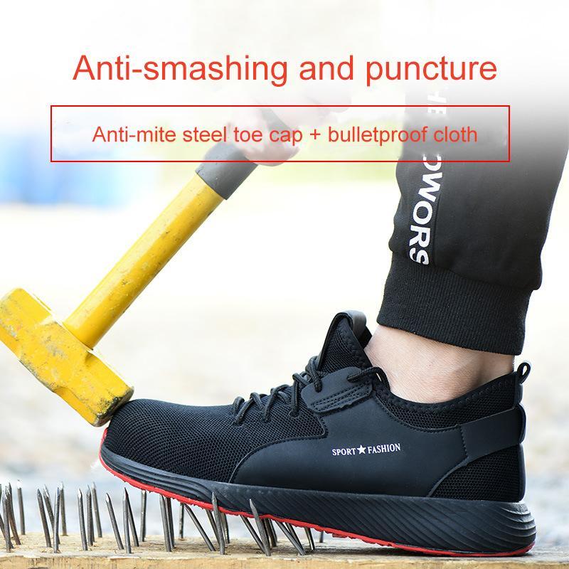 Männer Stahl Zehen Mesh Safety Shoes Lightweight Atmungsaktive Herrenarbeitsschuhe Anti-Smashing Anti-Piercing Männer / Frauen Stiefel Gummisohle 201223