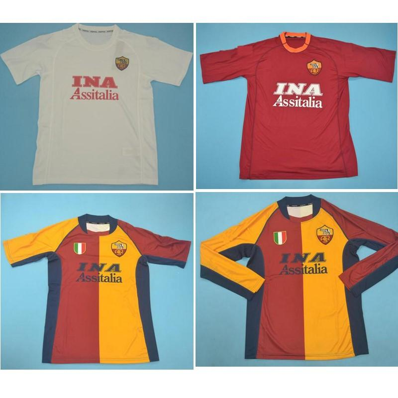 Top 00 01 01 Roma Retro Soccer Jerseys Totti Football Shirt 2000 2001 2002 Batistuta Jersey روما الكلاسيكية مايلوت دي القدم