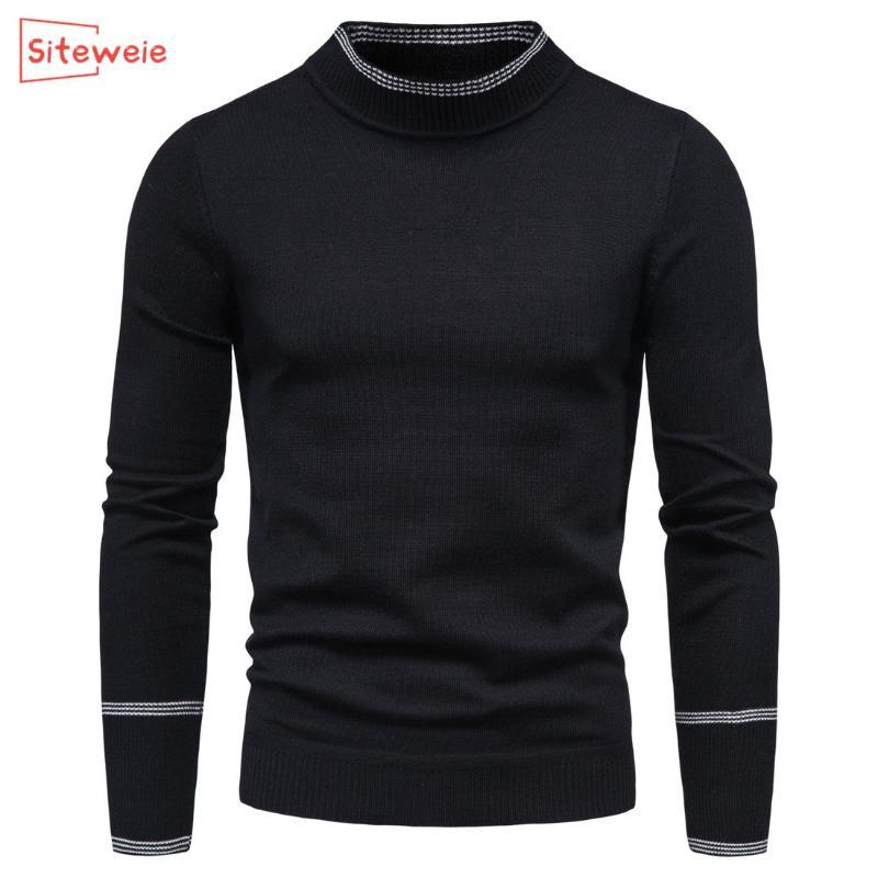 SITEWEIE 2020 Pull Pure Color Homme Tricot Pull Homme Manches longues semi-haute cou Casual hiver Balck Pulls G534