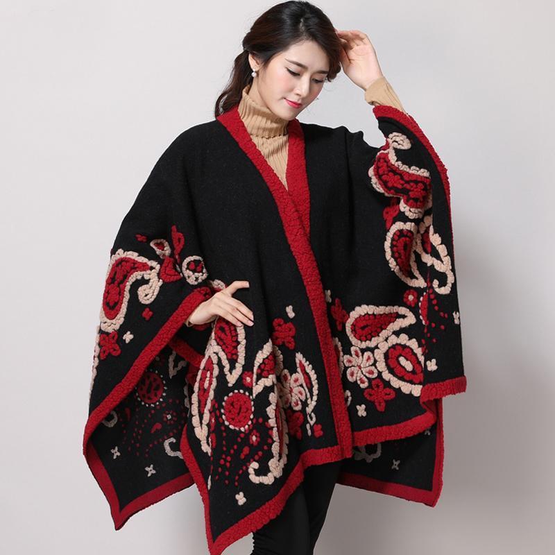 2021 Mode Warm Winter Poncho Schal Damen Schal Wolle Übergroße Wrap Frauen Deckenschal