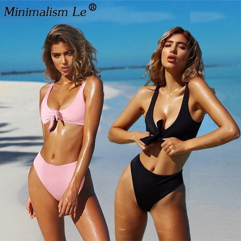 Mulheres Solid Botão Swimwear Sexy Brasileiro Swimsuit Verão Bandagem Tube Tubo Bikini Set New Bathing Terno Feminino Beachwear Biquini