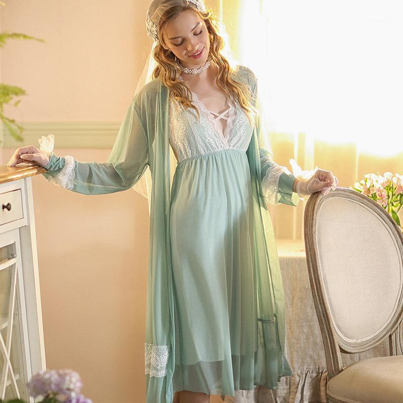 Женские спящие одежды Осенние женские V-образные вырезывающие кружева спагетти ремешок Pajamas ночная куртка из двух частей домашний пижамас1
