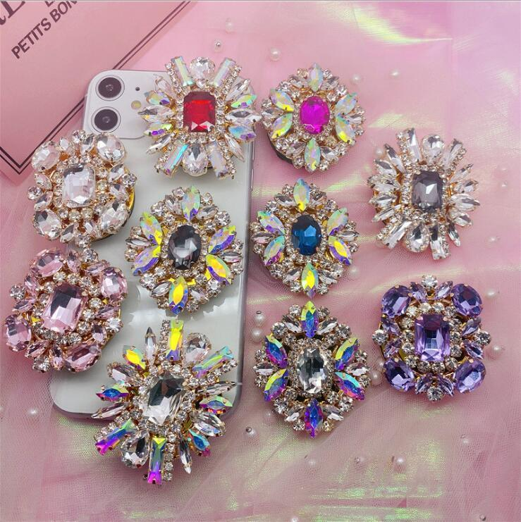 Universal Rhinestone Car Glitter Bling Phone Holder for Smart phone Grip Stand Sockets Tablets For iphone X Samsung