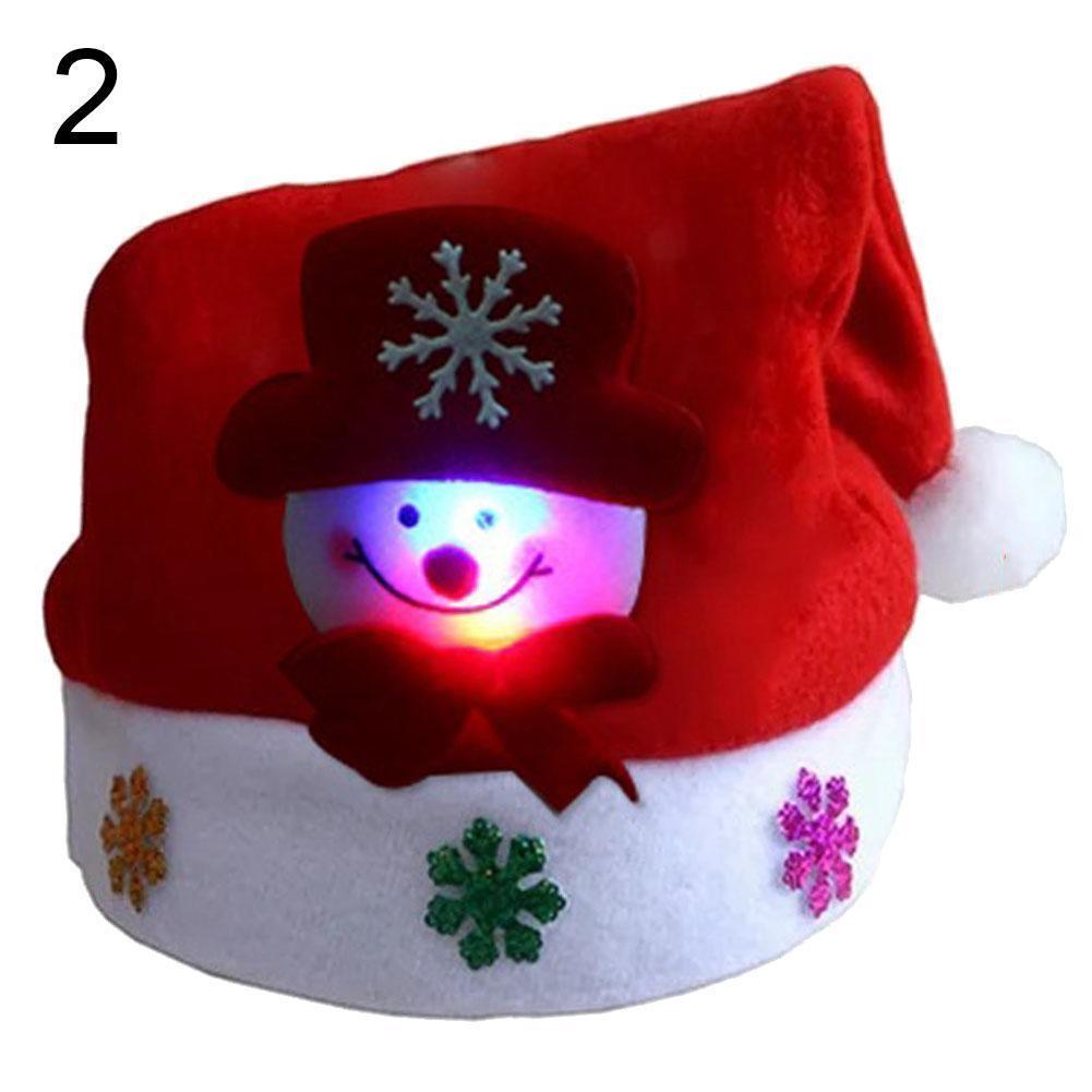 Up 1 stücke LED Frohe Weihnachten Licht Erwachsene Kinderkappe Santa Claus Schneemann Elch Weihnachten Elternkind Hat Geschenke Festliche Partei Supplies BBYDLA