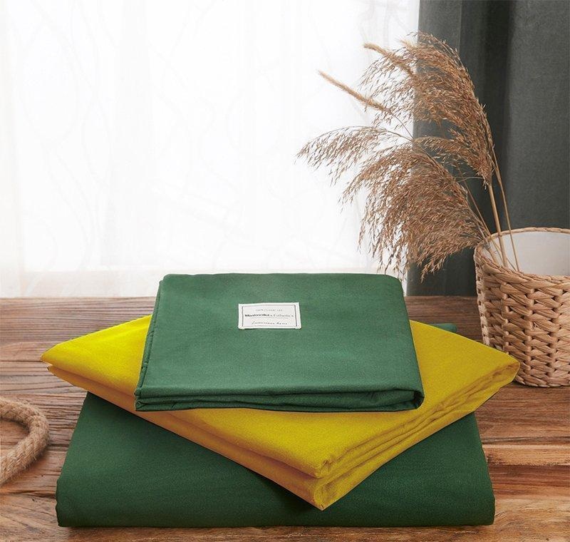 Green And Yellow Bed Set Single Bed Sheet Sets Solid Color Cotton Duvet Cover Pillowcase Queen Size Bedding Sets jllyoT eatout