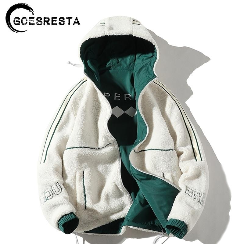 Men's Jacket Double-Sided Wear Lalambswool Winter Brand New Jacket Casual Warm Thick Parkas Coat Man Hooded Men's Clothing 201124