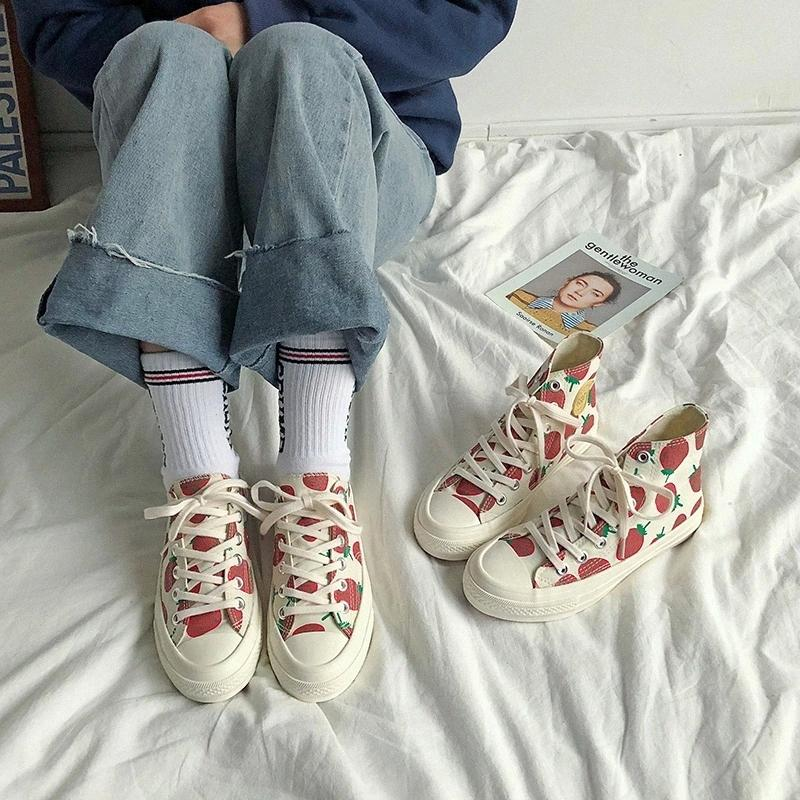 Women's Shoes New Fashion Women Canvas Shoes Printed Casual Breathable Cute Strawberry Women Casual Fashion Sneakers #Y07p