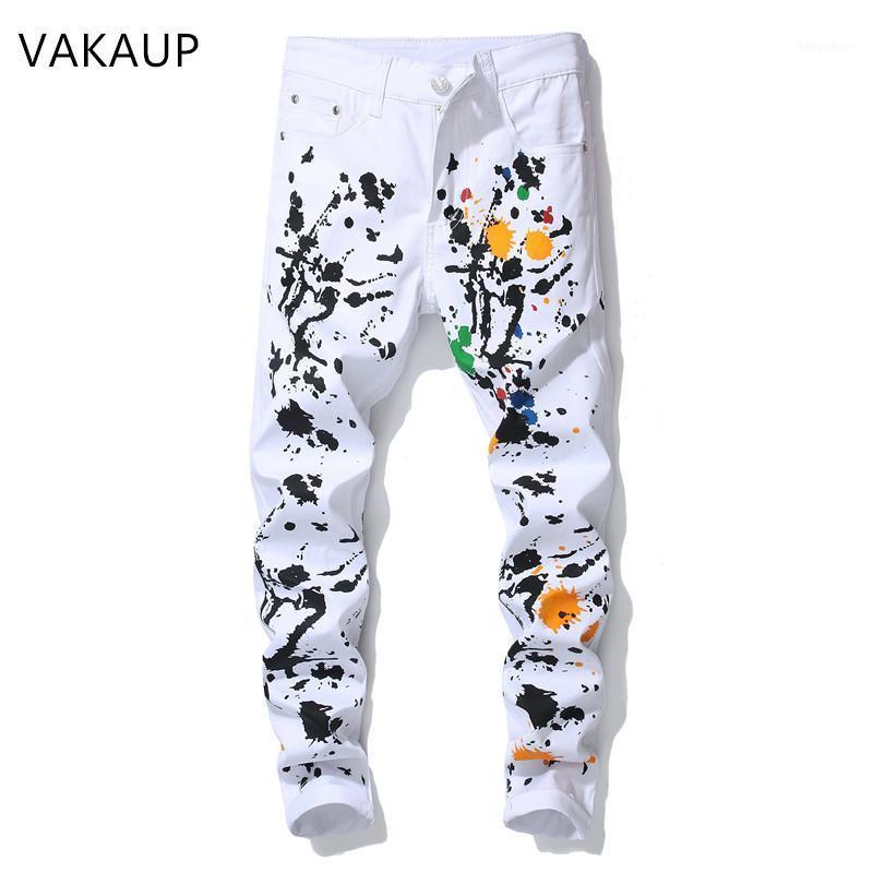 2020 fashion stylish cool mens pants jeans with print graffiti painted denim slim fit white jeans men hip hop rock street1