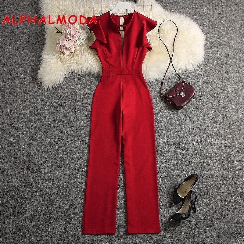 AlphalModa Sommer frauen tiefe v-ausschnitt sexy overkuits massiv farbe gerade in voller länge hosen damen party insgesamt outfit y200106