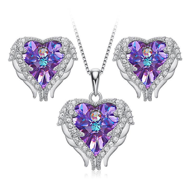 Les ensembles d'ailes d'ange populaires, S925 matériau ruban de fibres cornes Pandent avec ctystal de placage de platine Swarovski