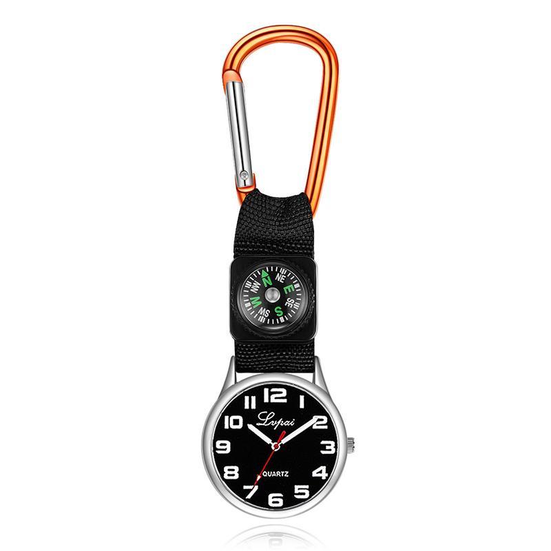 Tragbare Karabiner Taschenuhr Kompass Nurse Pocket Watch Quarzuhr Carabiner Lock Multifunktional Outdoor Survival Tool FFF4290