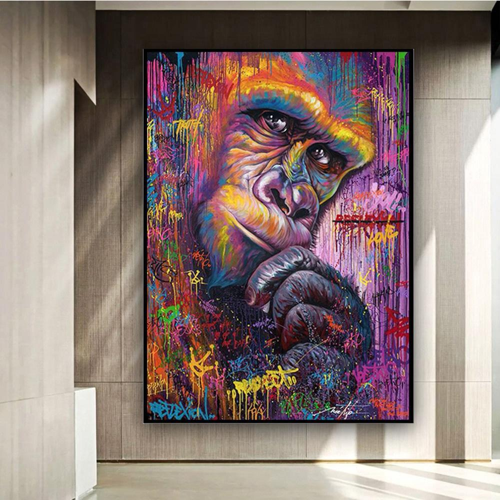 Creative Colorful Gorilla Canvas Oil Painting Graffiti Pop Art Animal Poster & Prints Wall Pictures for Living Room Kids Room Decoration