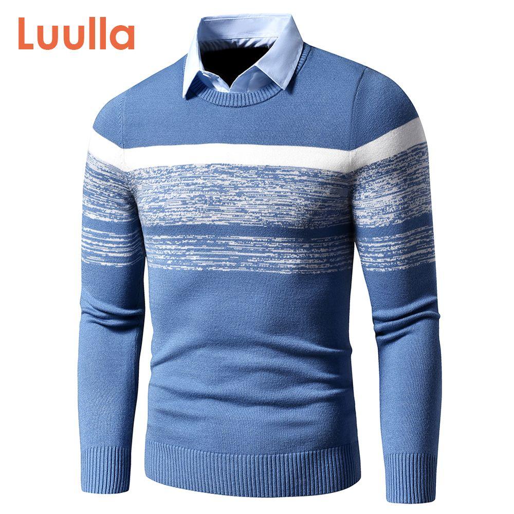 Мужчины осень зима повседневная совершенно новый теплый свитер пуловеры поворота рубашки воротник рубашки мужчины вязаный образец наряда свитер пальто мужчины 201117