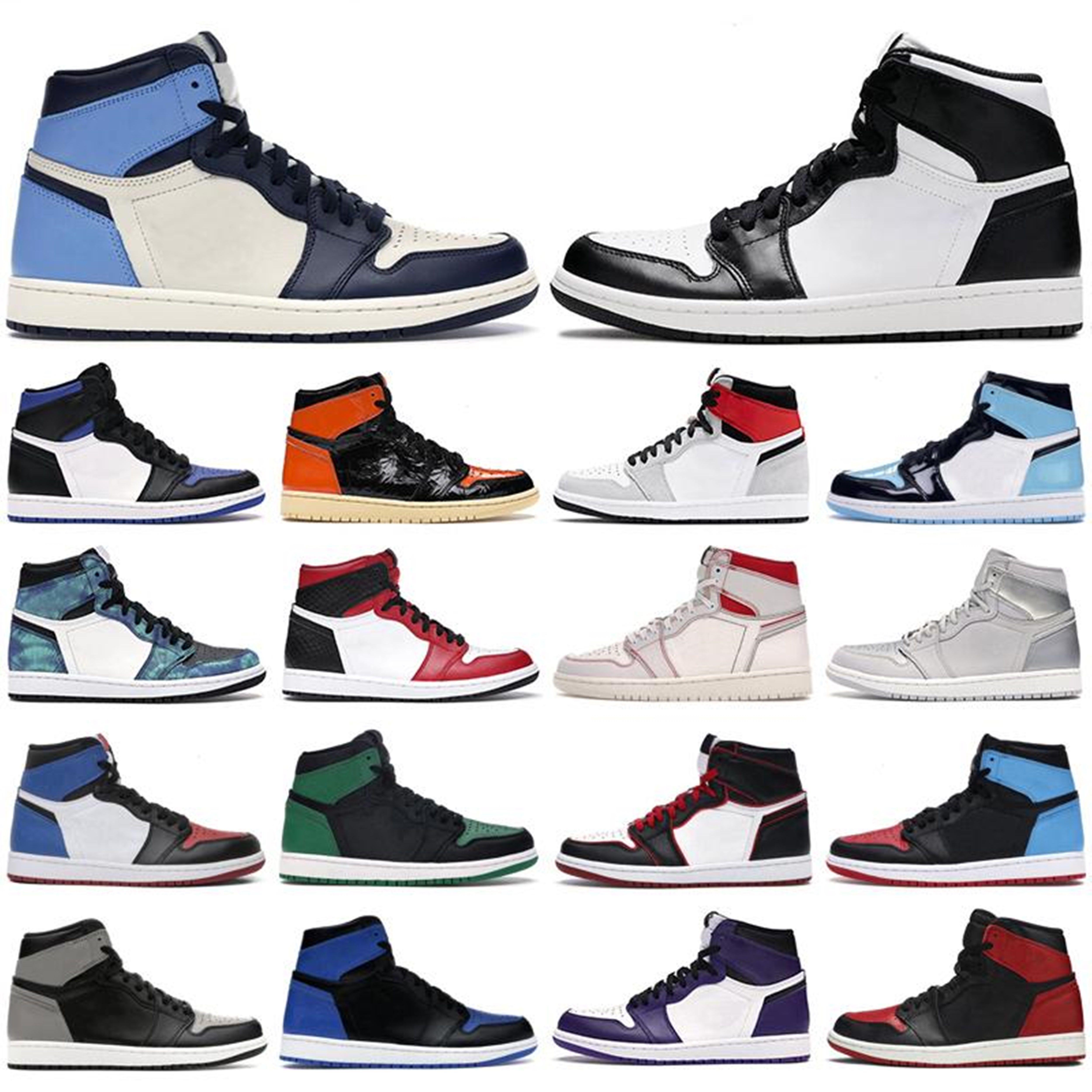 Novo Jumpman Alto 1 1s OG Basquetebol Shoes Mid Chicago Royal Toe Pine Gold Pine Green Green Black Unc Patent Homens Mulheres Sports Sneakers