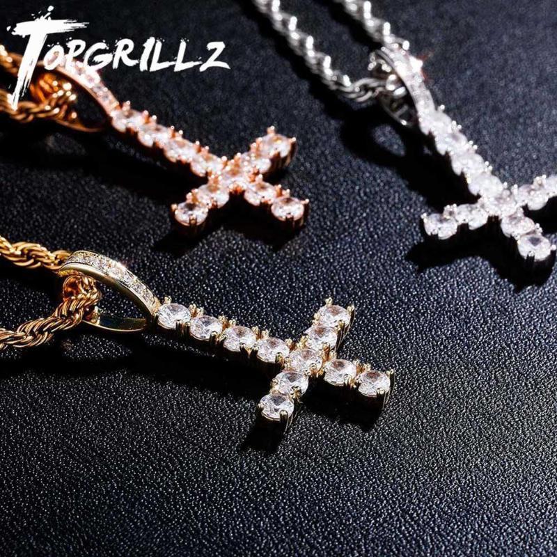 TOPGRILLZ новый перевернутый крест кулон высокое качество Cuded Out Out Cubic Zirconia мужская ожерелье хип-хоп мода ювелирные изделия для подарка