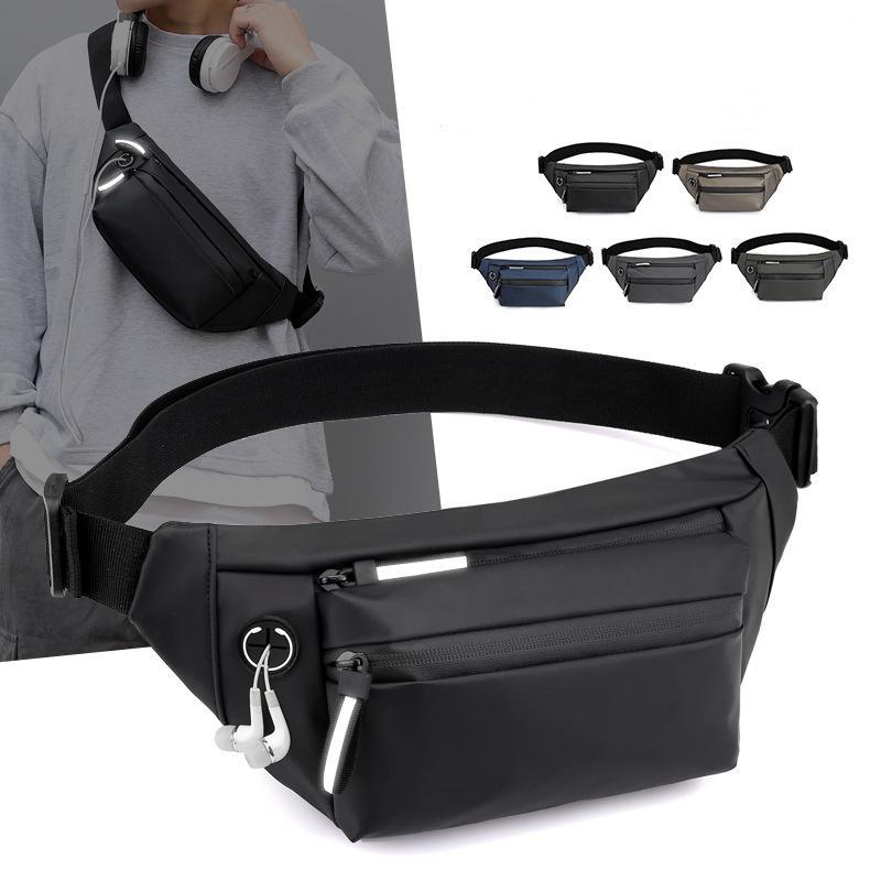 Men Bag Pack Fanny Bag Waist Shoulder Reflective Travel Bags Outdoors Chest Chest Crossbody Multi-Functional Bags Strip Waterproof Spor Evkq
