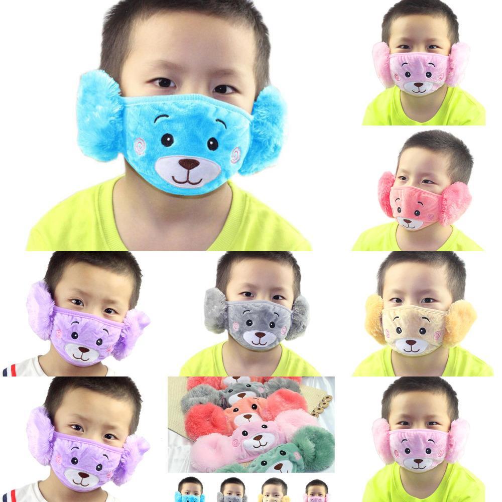 Cara 1 niño de dibujos animados Oso 2 máscara con peluche en la boca protectora gruesa y cálido niños máscaras de la boca de los niños del invierno. Muffle para Partdx1