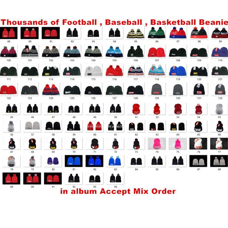 ¡Gran venta! Más nuevo invierno gorro de punto sombreros equipos deportes equipo béisbol fútbol baloncesto gorros gorros gorros mujeres hombres pom moda invierno top gorras