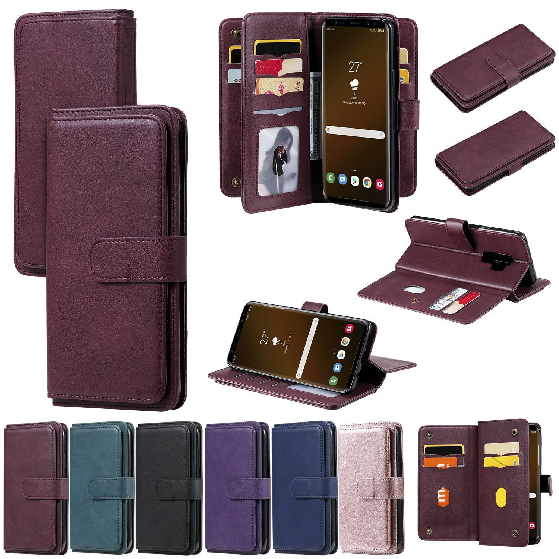 Para Samsung Galaxy S9 S10 S20 Plus S10 E Nota 10 20 Pro A71 A51 A91 A70 A70 Caja de cuero de cuero de la cartera de cuero Magnético Cubierta de doble capa
