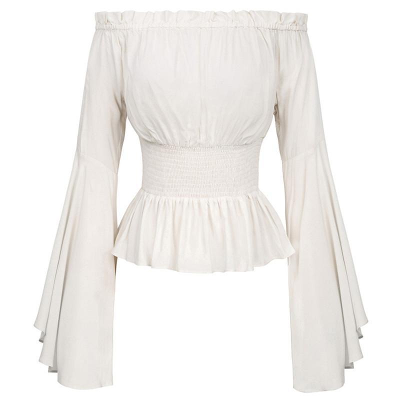 Gauner Süße Rüschen Flare Sleeve Weiße Bluse Elegante Schulterfreies Streetwear Chiffon-Hemd Frauen Mode Top Feamle Tees