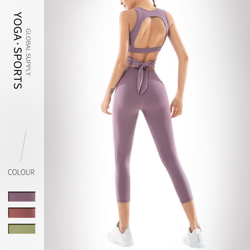YOGA SET PRUEBA DEPORTES STOR DEPORTES HIP Lifting Leggings Mujeres Dos piezas Establecer ropa de entrenamiento para mujeres Fitness Gimnasio Ropa Entrenamiento