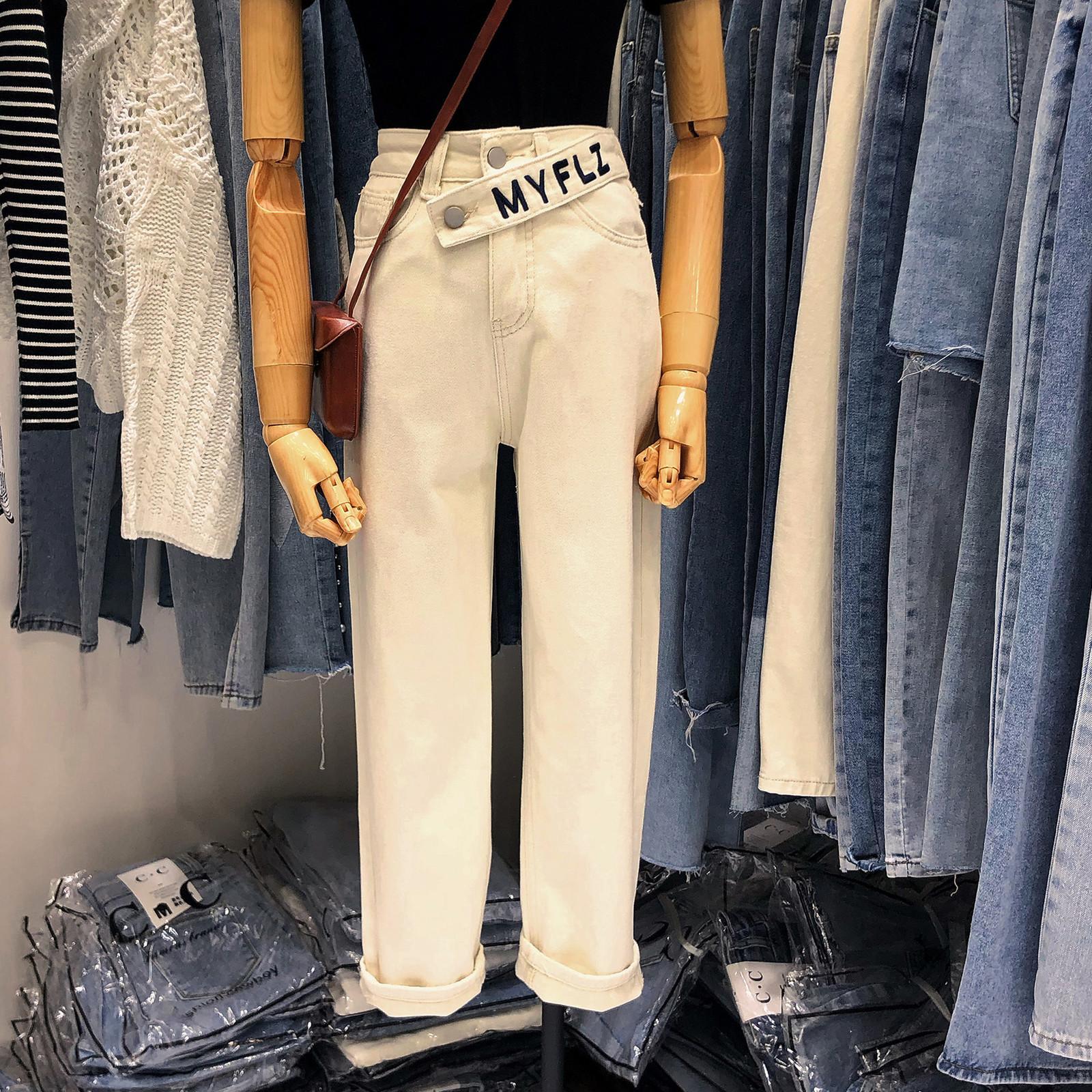 Осенние женские Свободные Fit High-staif Slim выглядящие антиквариаты с помощью полоскания повседневные прямые джинсы моды
