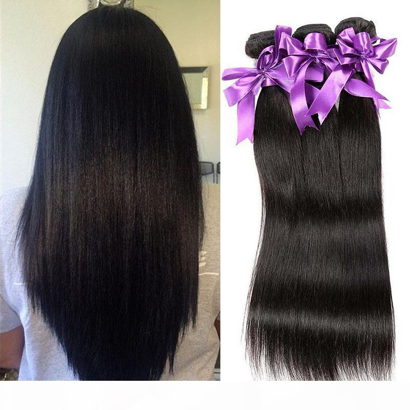 Brasilianisches gerades menschliches Haar webt 3 Bündel billige menschliche Haarverlängerungen 100% unverarbeitete jungfräuliches Haar webt natürliche Farbe