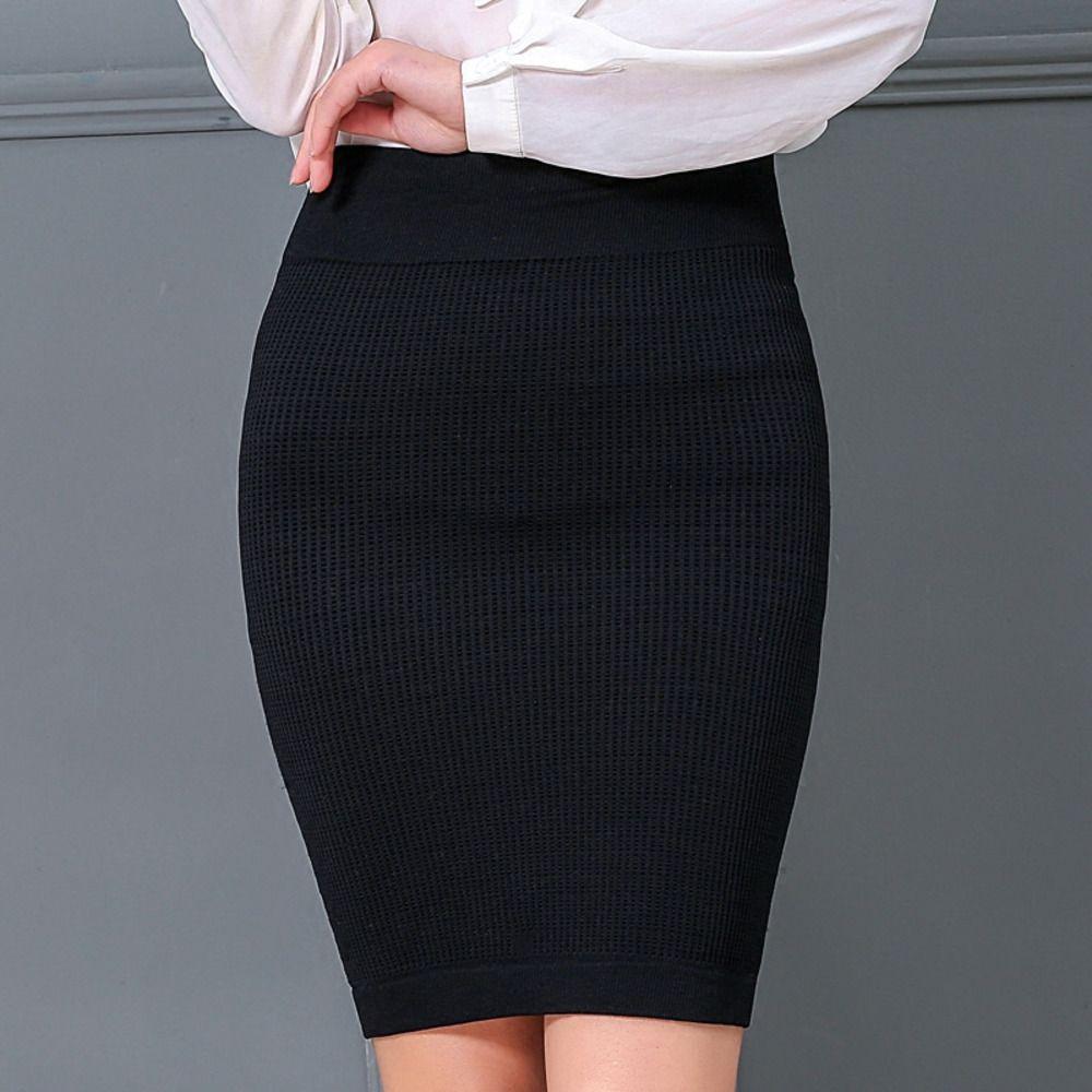 Fairyshely 2019 Kadın Ofis Etek Sonbahar Kış Seksi Sıcak Örme Siyah Kalem Etekler Bayanlar Kısa Kırmızı Yüksek Bel Mini Etek W1218