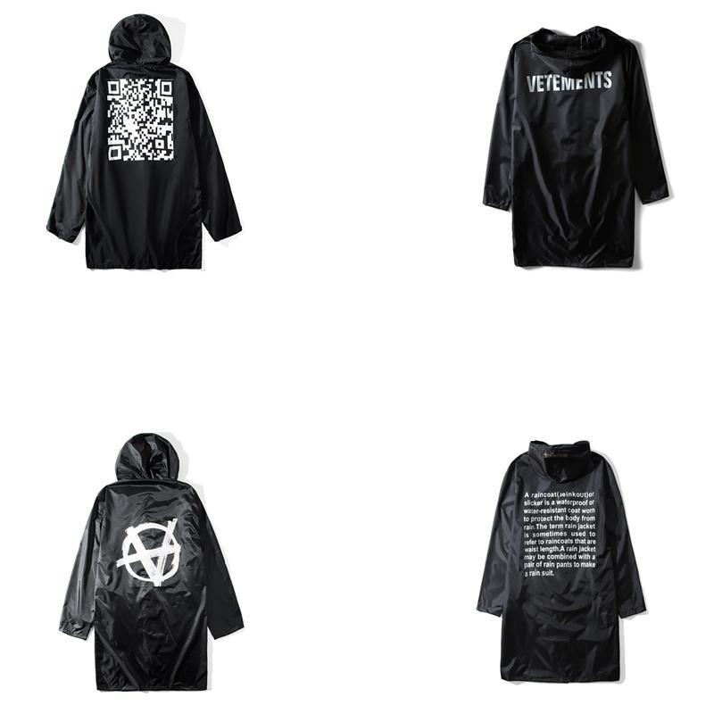 En İyi Kalite 1: 1 Vetements Kadın Erkek Unisex Uzun Stil Ceket Yağmurluk Hiphop Boy Ceketler Coat Vetements Streetwear T200502