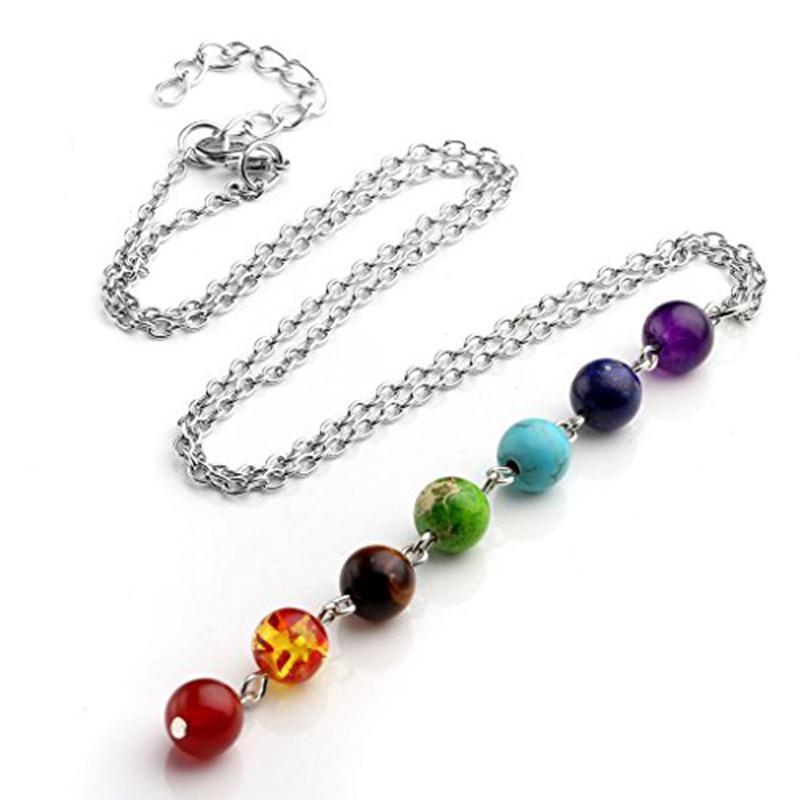 Collar colgante con piedras reales - Collares de cadena en forma de Mala y -La chakra Healing Beads Beads Collar de yoga PS1398
