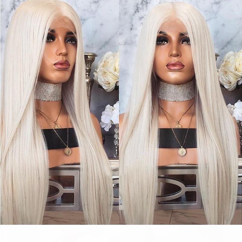 Moda Isıya Dayanıklı Saç Platin Sarışın Sentetik Dantel Ön Peruk Kadınlar Için Uzun Ipeksi Düz Dantel Peruk Bebek Saç