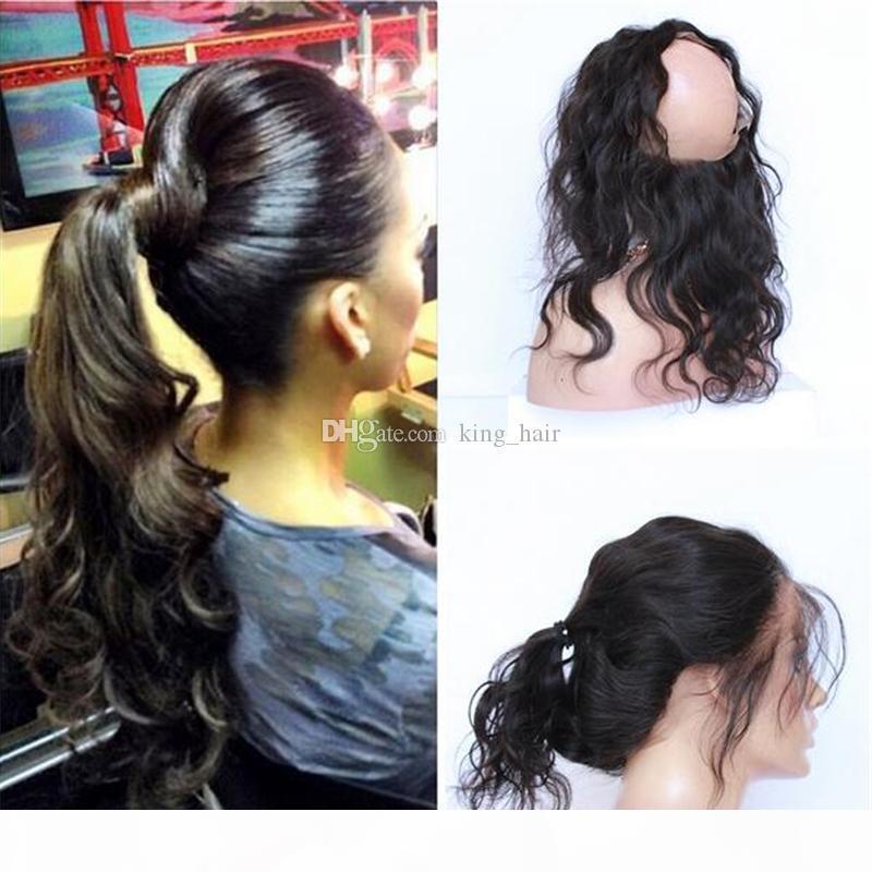 Orecchio brasiliana 9A Capelli fascia elastica in pizzo frontale Chiusura capelli dell'onda del corpo umano per Orecchio 360 Lace Fascia frontali con dei capelli del bambino
