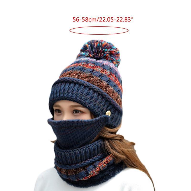 Donne inverno 3pcs a righe a strisce Knit Pompom Beanie Cappello Peluche Set maschera per maschera viso