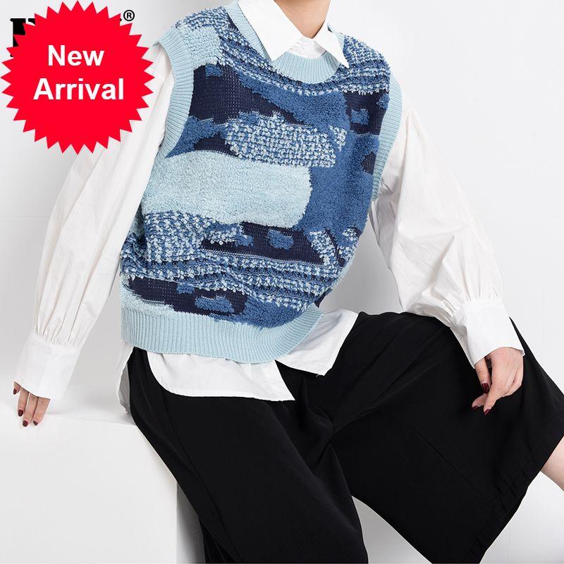 Mujeres azul tejido dividido Blusa de gran tamaño nueva solapa manga larga de manga suelta foca camisa de moda marea primavera otoño 2021 1y96117