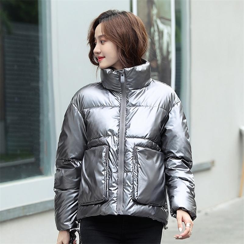 Kış Kadın Parkas Ceketler Moda Kısa Parlak Aşağı Pamuk Mont Büyük Cep Parlak Sıcak Kalın Parkas Kadın Soğuk Dış Giyim 201215