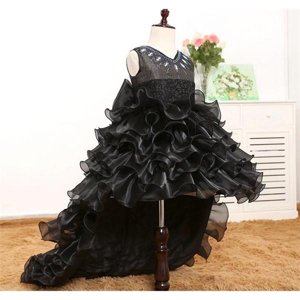 Tarrejar cauda meninas preto tutu v-pescoço de dama dama de honra flor menina vestido tule bola vestido kids halloween noite vestidos q1118
