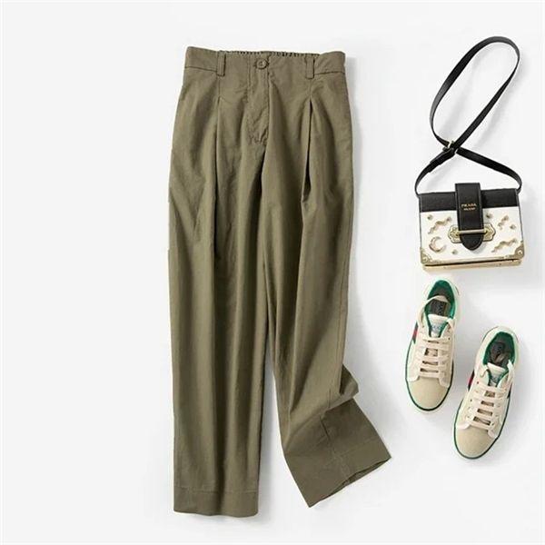 2020 Spring Summer Women's Cotton-Longueur du pantalon Longueur High Taille Couleur solide Couleur droite Lâche Poches décontractées Lady Pantalons A1113